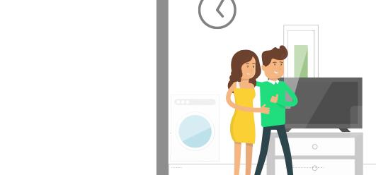 Mann und Frau kommen in ihre erste gemeinsame Wohnung