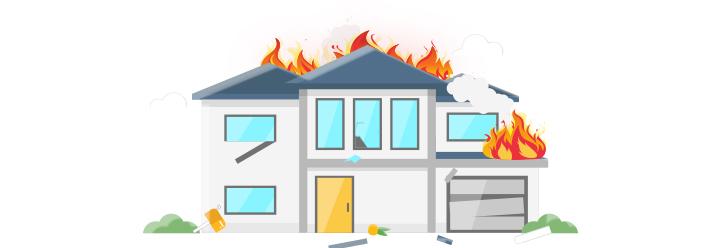 Schönes Haus brennt lichterloh