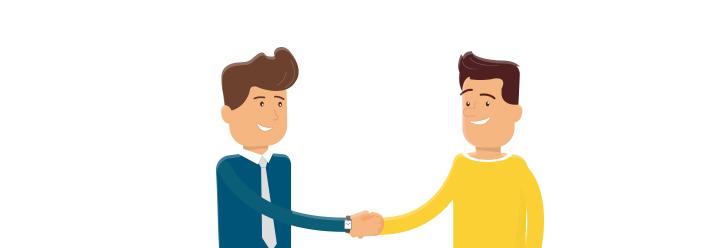 Kunde schüttelt Versicherungsvermittler die Hand