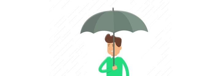 Junger Mann in strömenden Regen mit Regenschirm