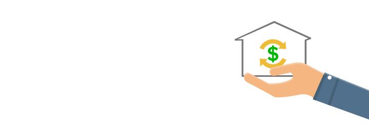 Hand trägt Haus mit Geldsymbol