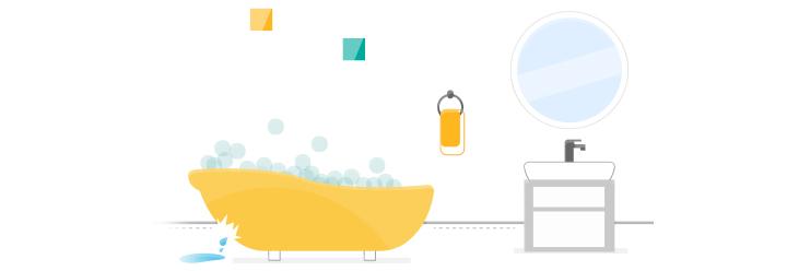 Badewanne mit Seifenblasen läuft aus