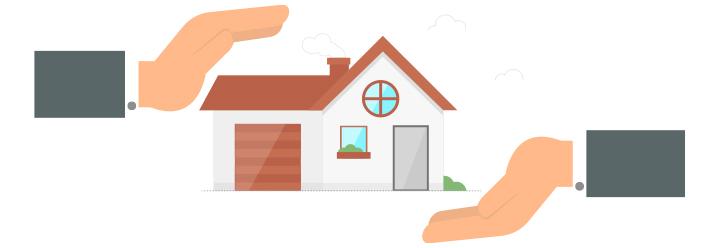 Schützende Hände über und unter einem Haus